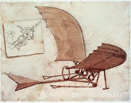 летательный аппарат леонардо да винчи - modern painting for dining room FLYING MACHINE Leonardo Da Vinci High quality Hand painted