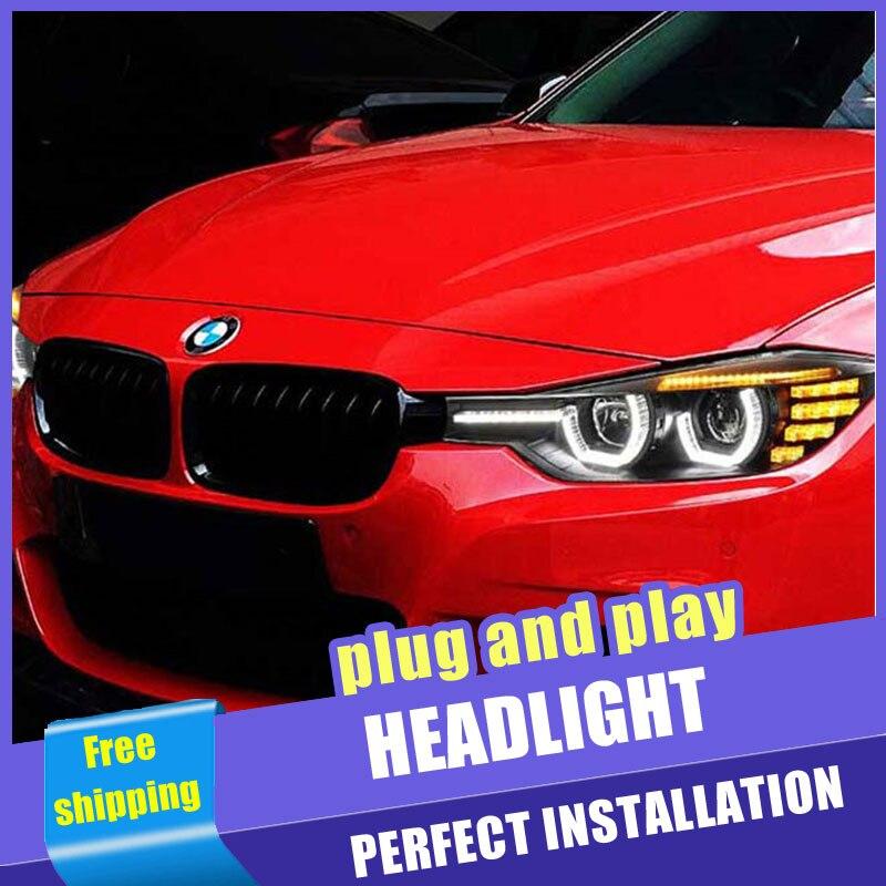 2 pièces voiture Style LED phares pour BMW F30 2012-2016 pour F30 lampe frontale LED DRL lentille Double faisceau H7 caché xénon bi xénon lentille