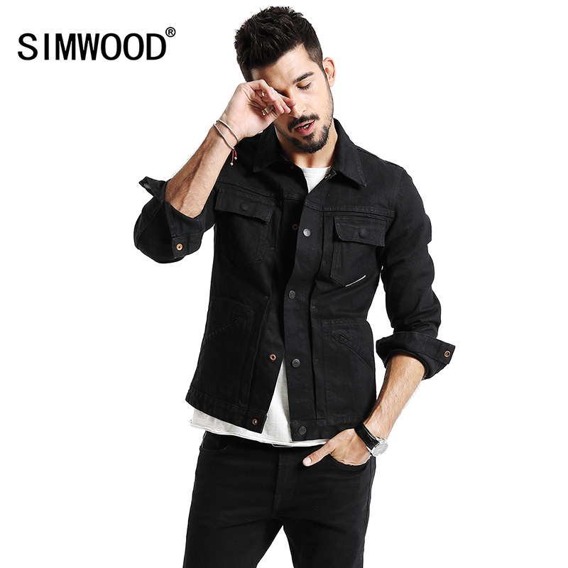 SIMWOOD 2018 New Denim Jacket Men Slim Fit Fashion Pocket Coats Men High Street Winter Redline jean Jacket High Quality NK017015