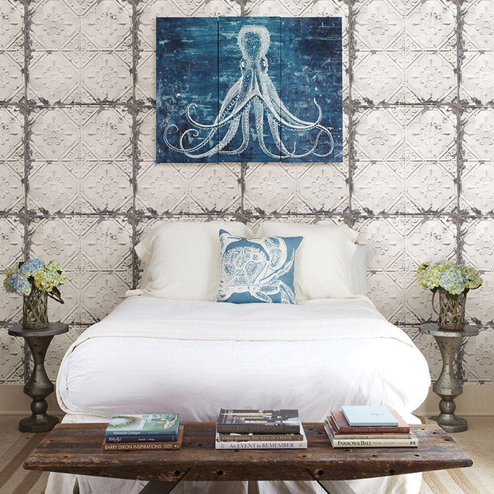 Nostalgique rétro blanc rouille plafond métal parquet salon fond 3D papier peint Mural Photowall 3d papel de pared FLC44001