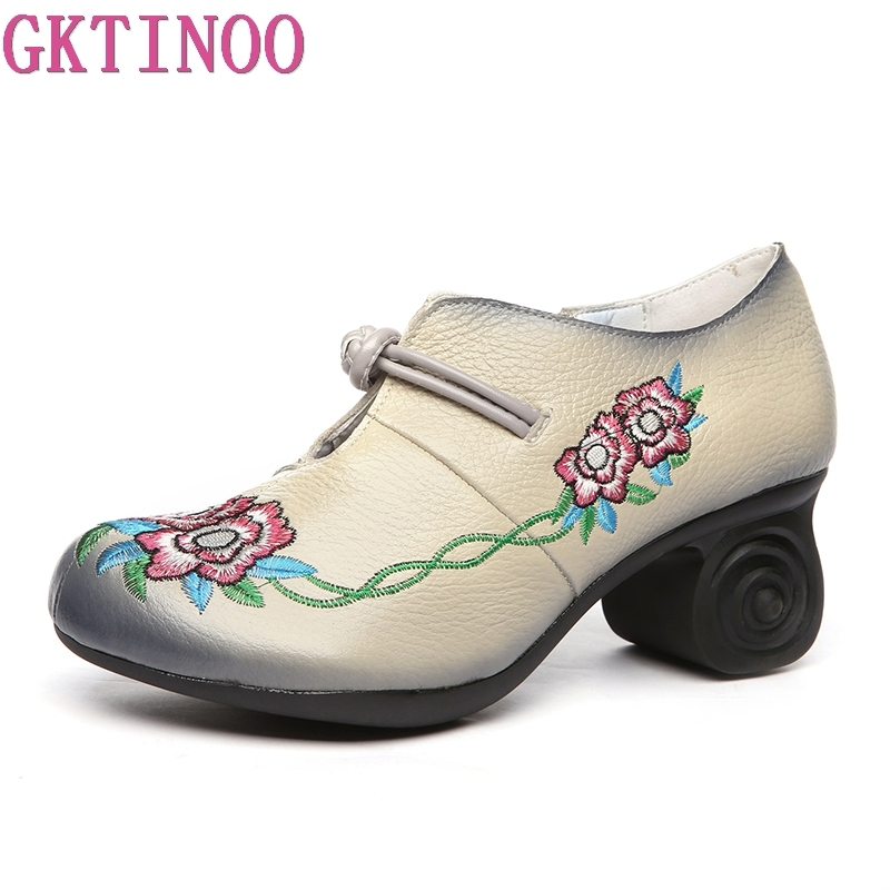 GKTINOO Women Embroidery Pumps Grey Lady 6CM High Heels Shoes Handmade Women Genuine Leather Pumps Autumn ShoesGKTINOO Women Embroidery Pumps Grey Lady 6CM High Heels Shoes Handmade Women Genuine Leather Pumps Autumn Shoes