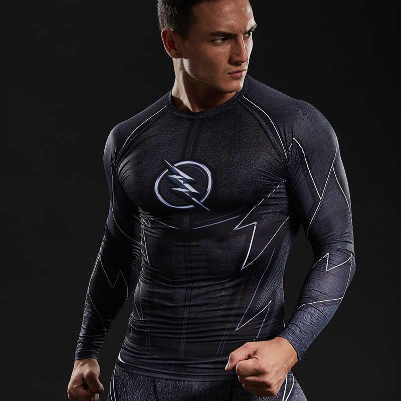 ZOOM 3D Dicetak T-shirt Pria Raglan Lengan Panjang Kemeja Kompresi Flash Komik Cosplay Kostum Pakaian kebugaran Atasan Pria
