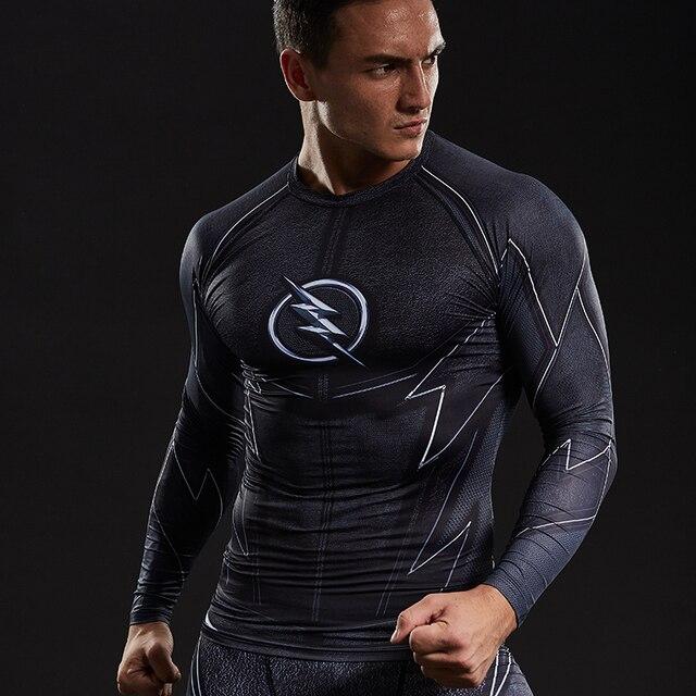 3dbf09fd93c08 ZOOM 3D impreso camisetas hombres Raglan Long Sleeve Compression camisa  Flash Comics Cosplay traje fitness ropa