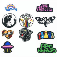 DOUBLEHEE Black White Animal Letters Patch Embroidered Patches For Clothing Iron On Close Shoes Bags Badges Embroidery