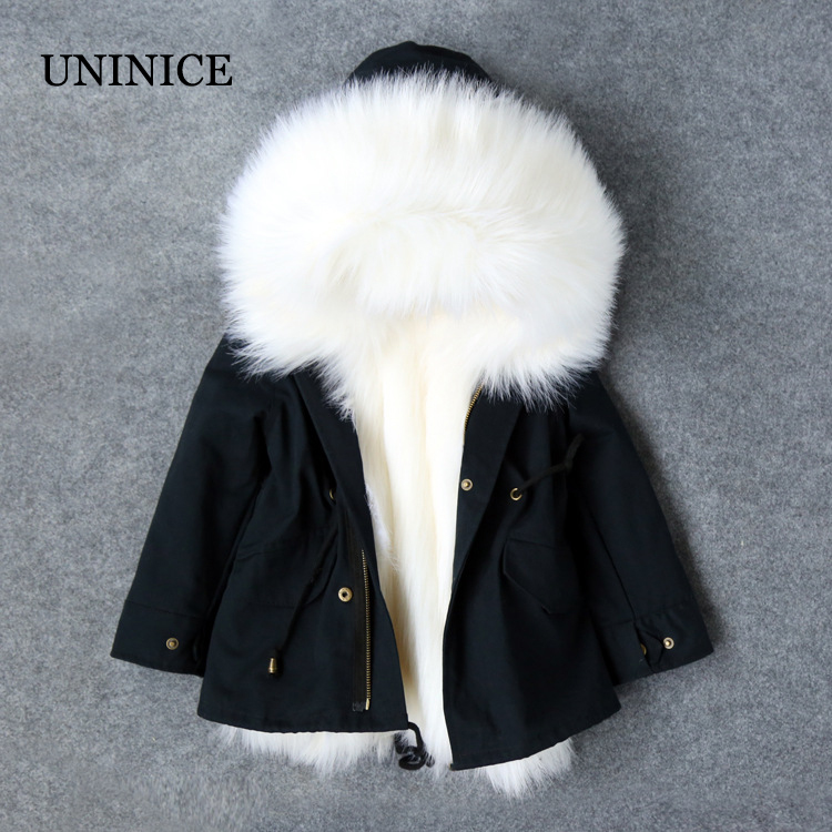 UNINICE Children Fur Parka Coats Boys Girls Warm Big Fur Collar Hooded Outerwear Cold Winter Kids Thicken Down Jacket fashion girl thicken snowsuit winter jackets for girls children down coats outerwear warm hooded clothes big kids clothing gh236