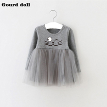 4-24M Baby Girls Dress character Infant Party Dress For Toddler Girl Brithday Baptism Clothes 3 colors Double Formal Dresses