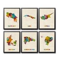Коста-Рика Куба Кипр Дания Доминиканская Республика Эквадор еритрея Эстония Эфиопии акварель карта страны плакат