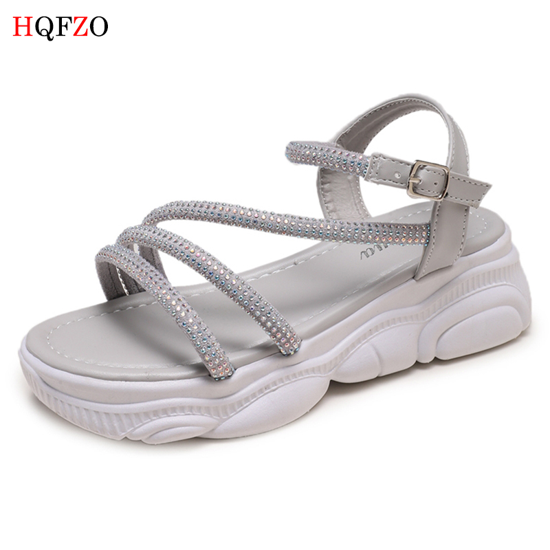 HQFZO Casual Bling Flock Woman Sandals Summer Comfortable Platform Buckle Strap Flats Sandalias 2019 New