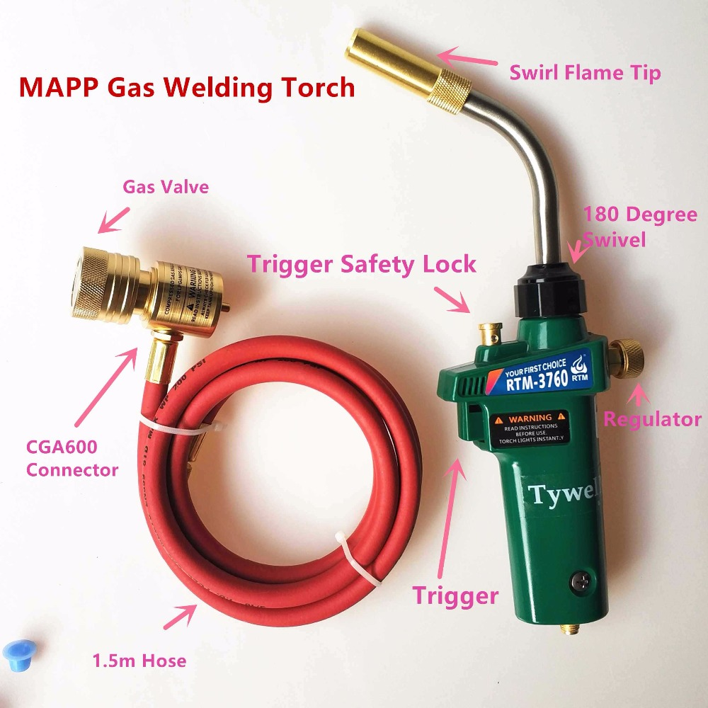 Mapp Gas Brazing Torch Self Ignition Trigger 1.5m Hose Propane Welding Heating BBQ HVAC Plumbing Jewelry CGA600 Burner