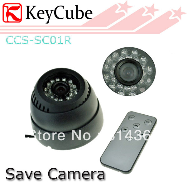24 LED IR Color CMOS Loop Recording CCTV Security Dome Save Camera TV Out Remote Control Free Shipping remote control dvr dome camera led array sd card tv output up to 20m night vision dome camera recorder free shipping