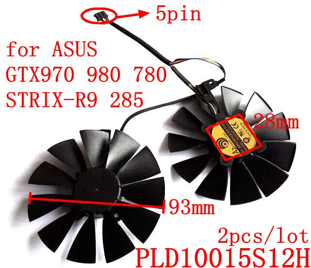 Free Shipping  POWER LOGIC PLD10015S12H 2pcs/lot 93mm 12V 0.55A 5Pins for ASUS GTX970 980 780 STRIX-R9 285 Graphics card fan new original for asus graphics card fan diameter 90mm pitch 42mm thermostat power logic pld09210d12hh 12v 0 40a