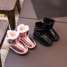 Expensive leather fur pink boots for kids winter snow shoes outdoor waterproof soft breathable leather real fur booties children