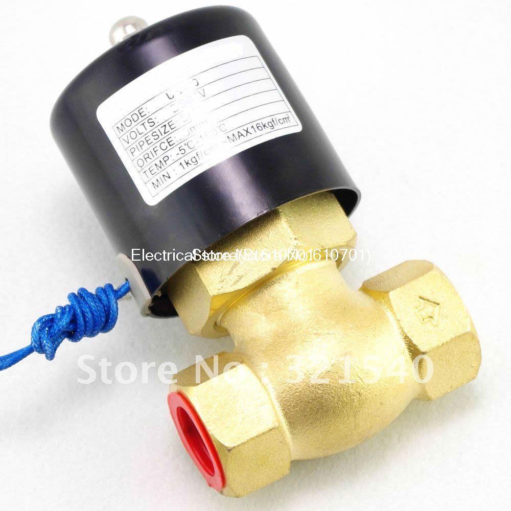 1BSPT 2Position 2Way NC Hi-Temp Brass Steam Solenoid Valve DC 12V/24V AC 110V/220V PTFE Pilot Piston US-25 2L200-25 free shipping 2l500 50 2way nc hi temp 2 brass steam solenoid valve ptfe 110v ac