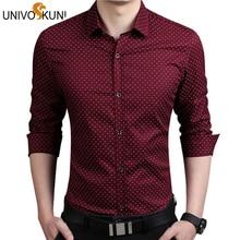 UNIVOS KUNI 5XL Mens Dress Shirts Autumn New Cotton Long Sleeve Business Men Shirt Slim Polka Dot Camisa ZHY2124