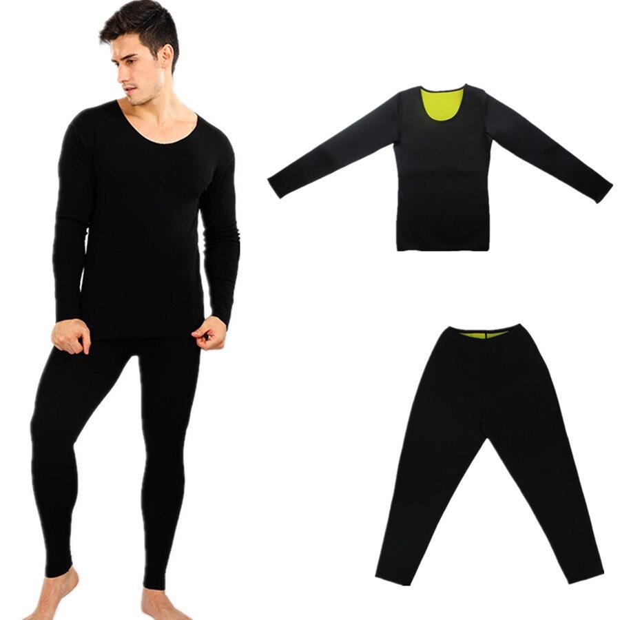 Homens corpo shapers calças manga longa conjunto de emagrecimento topos fitness espartilhos cintura esportes suor sauna calcinha perda de peso neoprene