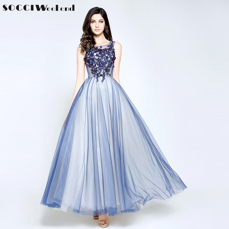 Us 4949 45 Offsocci Blue Lace Beading Sexy Backless Long Evening Dresses Flowers Sleeveless Floor Length Prom Tiered Dress Robe De Soiree New In