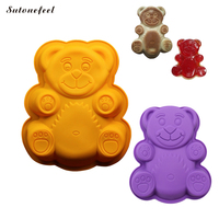 SutoneFeel 2 Piece Silicone Mold 3D Cartoon Bear Shape Cake Moulds Silicone Bakeware Jelly Pan Baking Tool