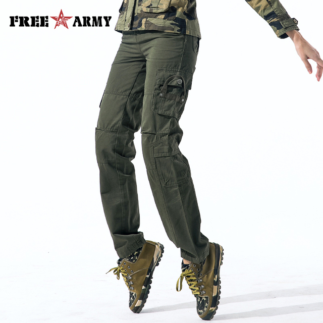 1f06ebf2f75 2018 Army Green Cargo Pants Military Style Womens Pockets Tactical Straight  Fit Cotton Work Trousers Female Joggers Sweatpants