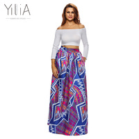 Yilia 2018 New Colorful African Print Women Skirt Vestidos Summer Sexy A Line Fashion Beach Party