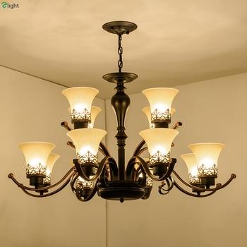 Américain rétro métal pendentif Led Lustre lumières Lustre verre salon Led lustres éclairage chambre Led suspension