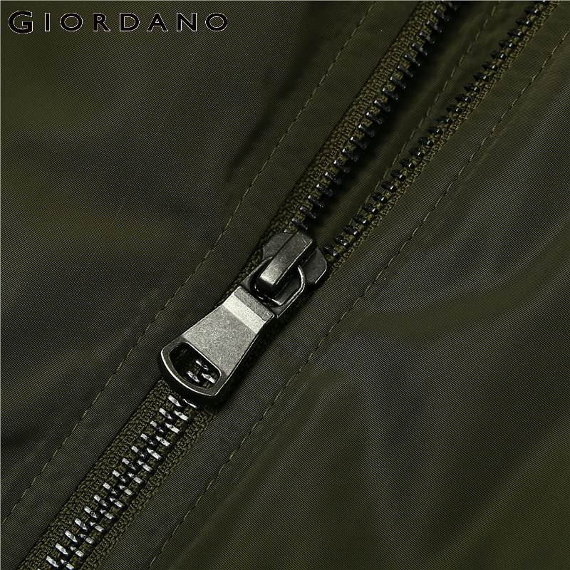 Giordano Men Jacket Thick Warm Bomber Jacket Men Quilted Cotton Mock Neck Bomber Jacket Zip Fly Pocket Casual Jaqueta Masculina