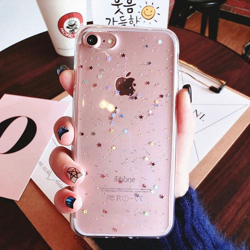 Galleria fotografica For iphone X 7 plus iphone8 Case Bling Star Silicon Clear Cover Glitter coque Case for iphone 6 s 6s plus iphone 8 plus cases