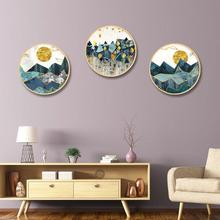 Nordic style ins solid wood round decorative painting simple modern living room restaurant Gold foil geometric landscape mural