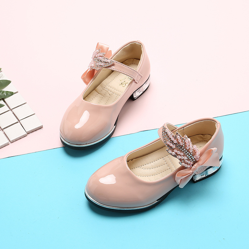 Spring Autumn Kids Girls Leather Shoes Bowknot Rhinestones Kids Shoes For Student Dance Party Baby Girls Shoes Pink Black Beige