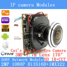 IP Camera Module IMX322 2.0MP 1080P 360 Degree Wide Angle Fisheye Panoramic Camera Infrared Surveillance Camera 1.7mm HD lens