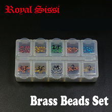 Fly tying 1set colorful brass beads set with despensor size 2mm/2.5mm/3.5mm brass head beads for nymph bugs fly tying material