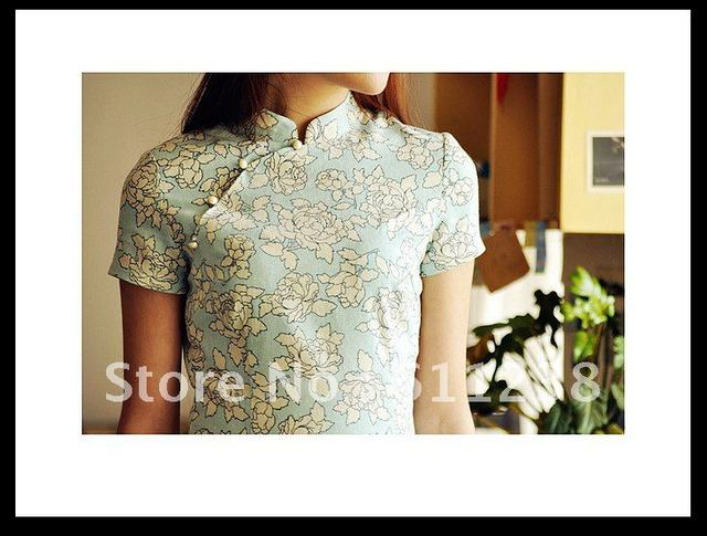 2012 spring and summer long section of the waist cotton linen cheongsam--Orchid