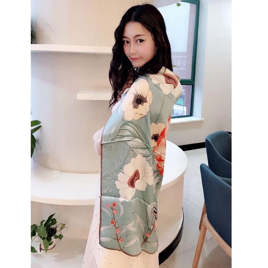 2019 Spring Floral 100% Satin Silk Scarf Wraps Shawl Foulard Luxury Thicken Type 35
