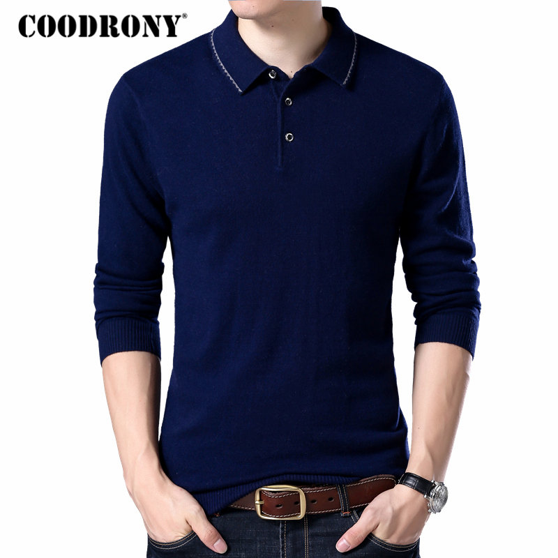 COODRONY Brand Sweater Men Turn-down Collar Pull Homme Autumn Winter 100% Merino Wool Sweaters Warm Cashmere Pullover 93005
