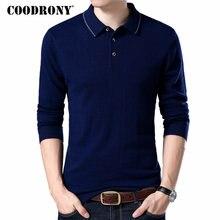 Coodrony marca suéter masculino turn down collar pull homme outono inverno 100% lã merino camisolas quentes cashmere pulôver masculino 93005