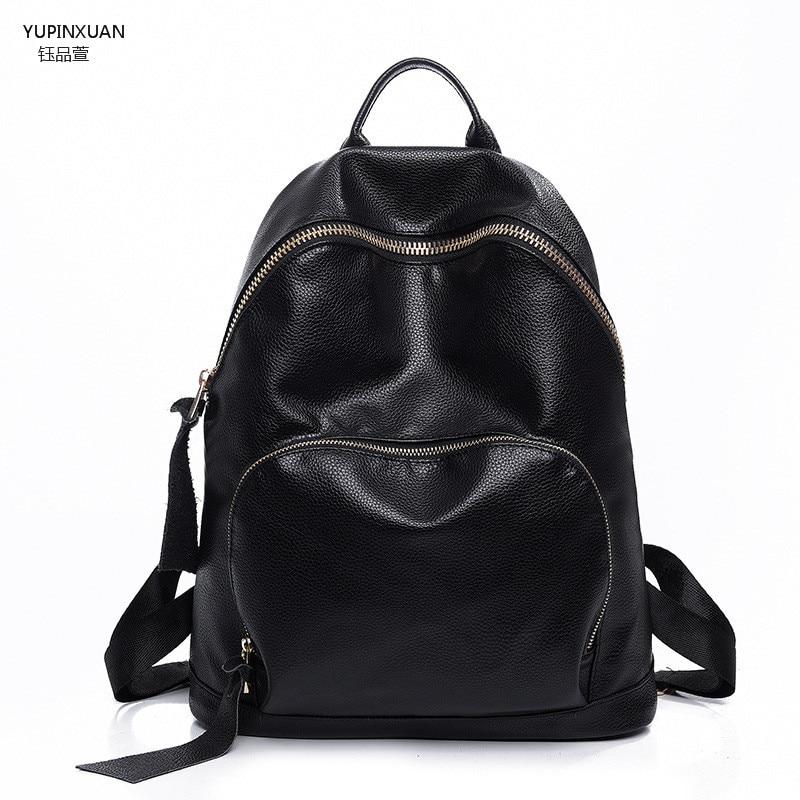 YUPINXUAN PU Leather Backpacks for Women Backpack Black Leather Back pack School Bags For Teenage Girls Mochila Feminina Cheap