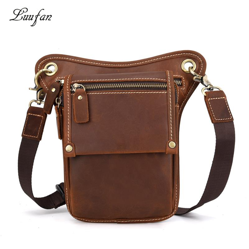 Luufan Leather Waist Bag Crazy Horse Leather Leg Bags Real Cowskin Fanny Pack Summer Phone Pounch Bag Outdoor Travel Waist Packs