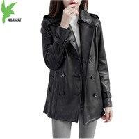 Кожаная куртка для женщин 2018 весна осень высокого качества кожаная куртка Большие Размеры черный из натуральной овчины пальто OKXGNZ1832