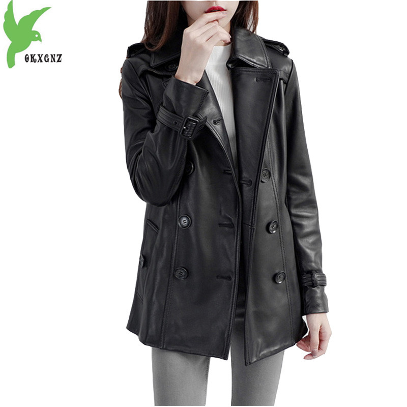 Leather   jacket for women 2018 spring autumn high quality   leather   coat Plus size black genuine natural sheepskin coats OKXGNZ1832