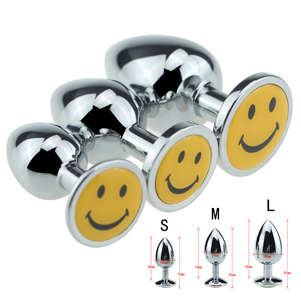 3 Sizes Men Gay Smile Vibrator Anal Plug Stainless Steel -4724