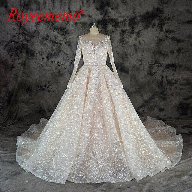 2019 Shining Lace Wedding Dress Glitter Shiny Wedding Gown Luxury