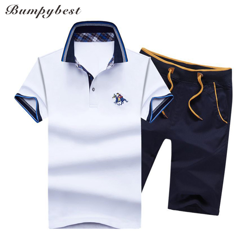 Bumpybeast Mens sportswear Clothing Casual Tracksuits Men Summer Sets Stand Collars Embroidery polo Tops Tees+Shorts Mens Set