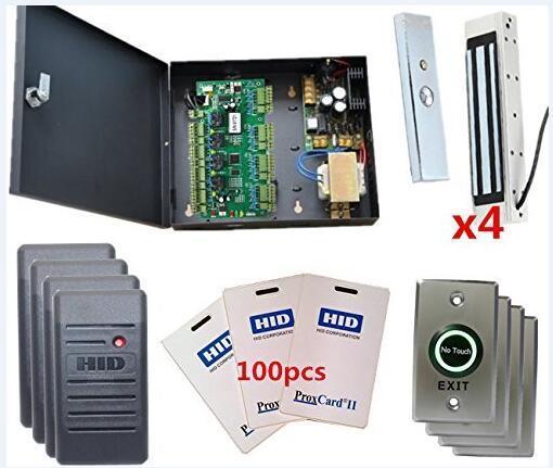 Cerradura de la puerta sistema de control de acceso de una caja de cartón con 4 pulsadores 4 WG26 lectores 100 unids tarjetas RFID