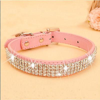 Personalized Dog Cat Pet Collar   BLING PU Leather   Rhinestone Diamante