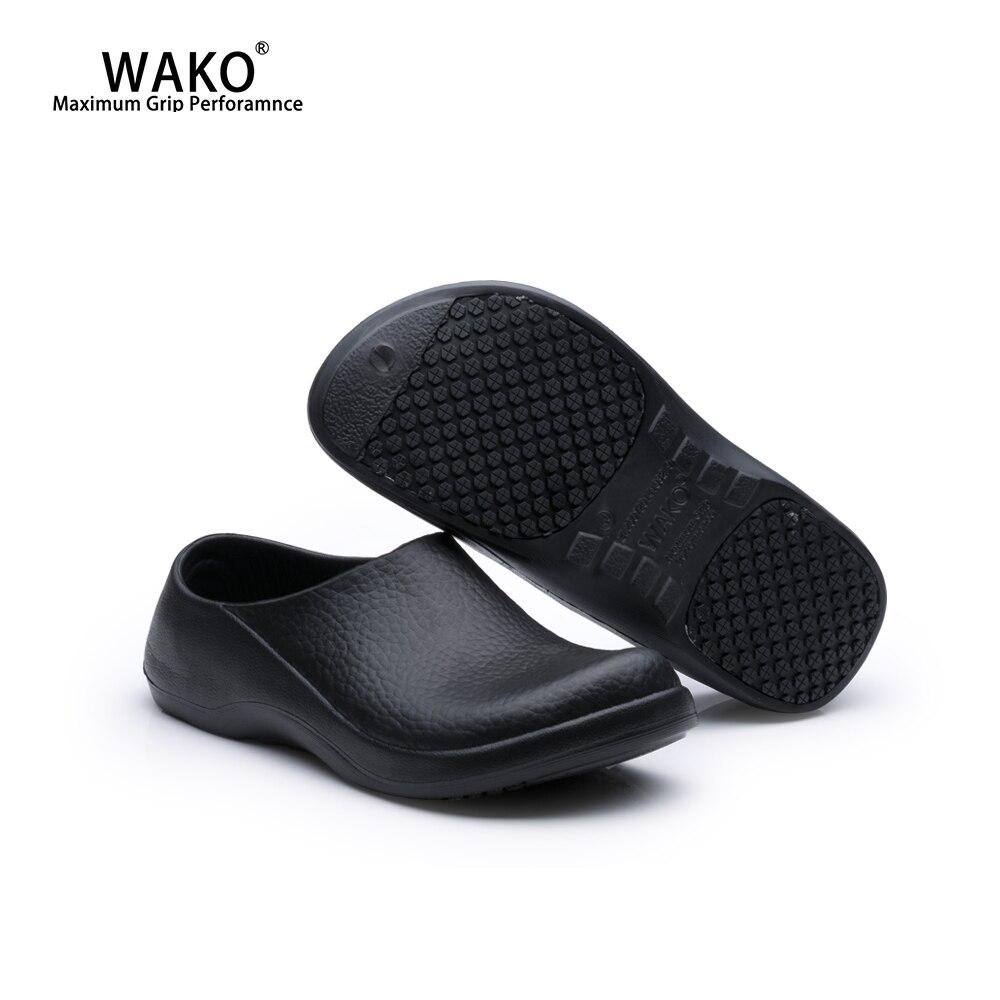 WAKO Men Chef Kitchen Work Shoes Non-Slip Safety Working Shoe Anti-Skid Cook Sandals For Hotel Restaurant Master Chef Black 9051