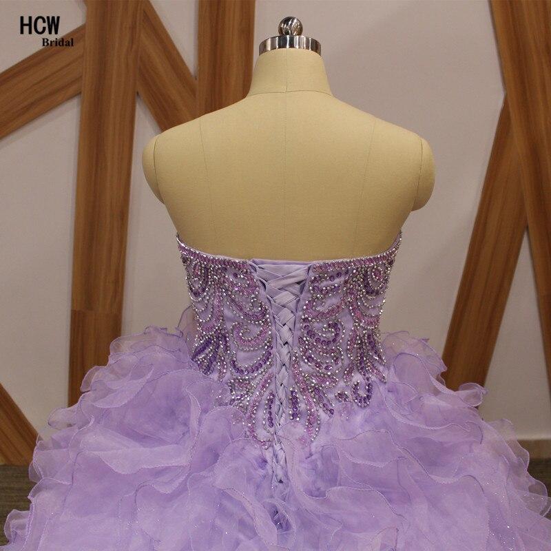 Lavendel pluss suuruses Quinceanera kleit, pitsiga kaelakristallid, - Eriürituste kleidid - Foto 6