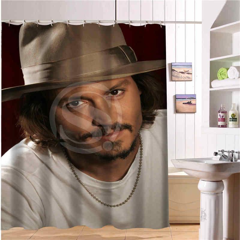 Custom Johnny Depp New Modern Shower Curtain Polyester Fabric Printing Bathroom Curtain For Bathroom Waterproof With Hook