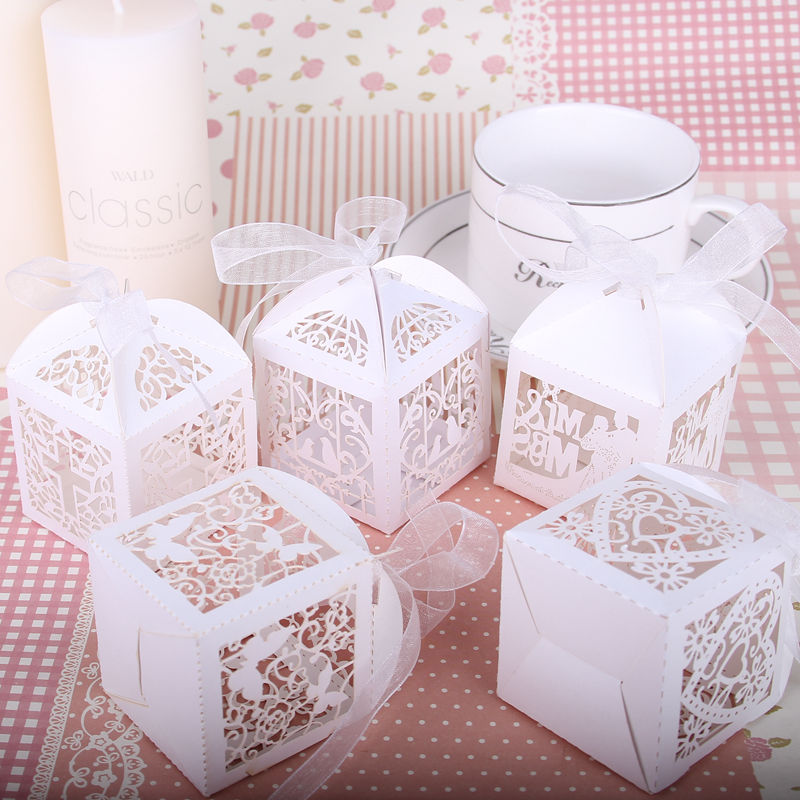 100pcs baby shower candy box wedding favors boxes with ribbon gifts for guests birthday party events