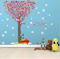60 90cm Big Size Colorful Pawpaw Balloon Dream Tree Wall Stickers Bedroom Decor PVC Happy Girl