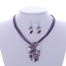 2016 Jewelry sets Factory price Wholesale Drop earrings For Women Chain Pendant necklace Leather Rope Chain set jewelry set