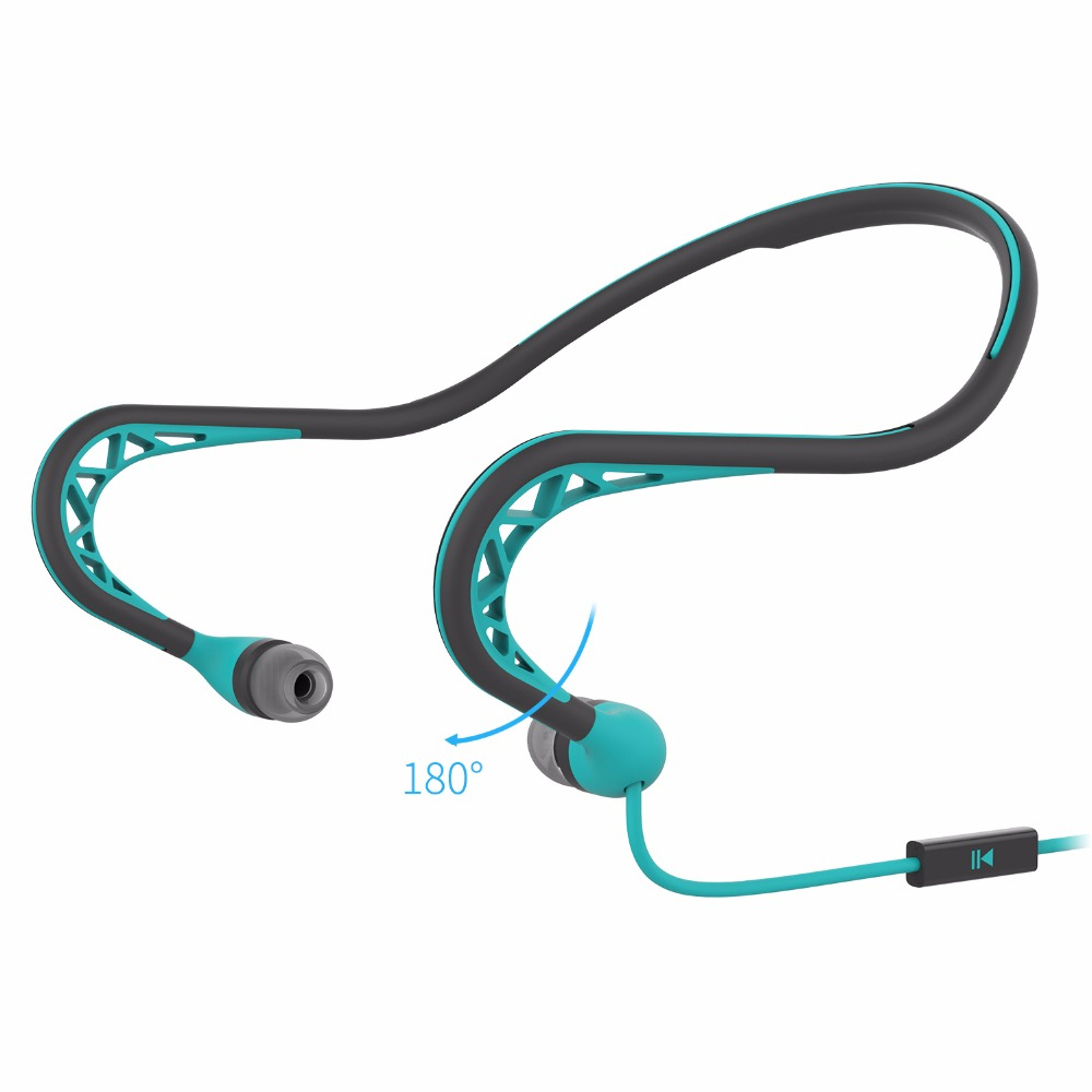 Wired Neckband Running Earphone Outdoor Sports Headphone with Microphone In-ear Earbud Lightweight Behind-the-neck Band Headset nameblue st 33 sports bluetooth v4 0 in ear earphone headphone set w microphone volume control